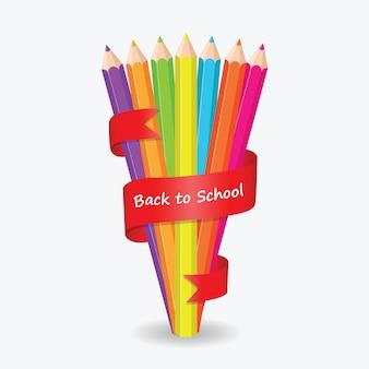 De volta à cor do lápis da escola com fundo vermelho da fita