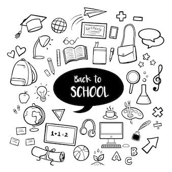 De volta à educação escolar com mão desenhada doodles