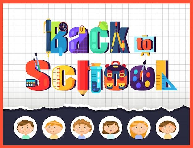 De volta à escola, alunos crianças e artigos de papelaria