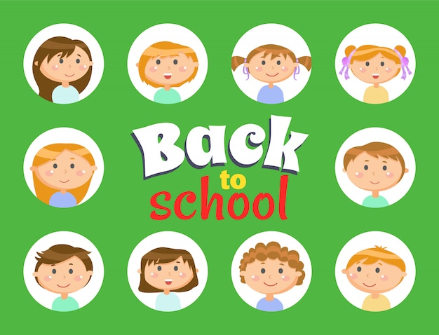 De volta à escola, alunos ou crianças, meninos e meninas