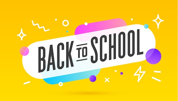 De volta à escola, balão de fala. banner, pôster, balão de fala com texto de volta às aulas