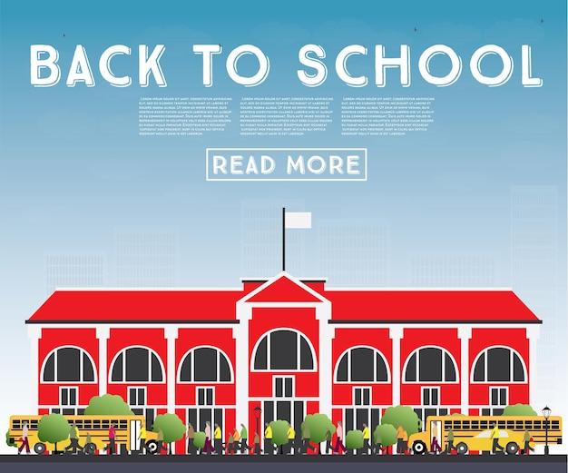 De volta à escola. banner com ônibus escolar, edifício e alunos. ilustração vetorial.