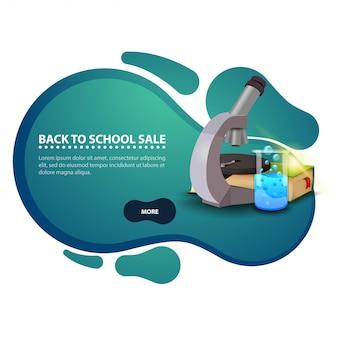 De volta à escola, banner de desconto moderno na forma de linhas suaves para o seu negócio com microscópio