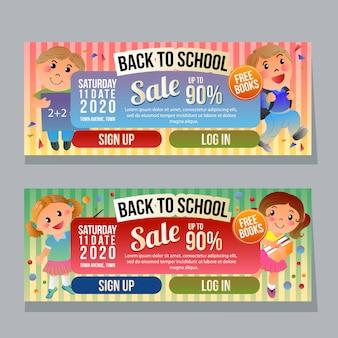 De volta à escola banner horizontal modelo cartoon crianças