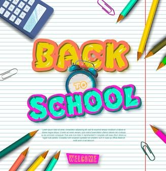 De volta à escola. banner tipográfico. folheto brilhante. ilustração vetorial