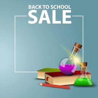 De volta à escola, banner web quadrado para o seu site com livros e frascos químicos