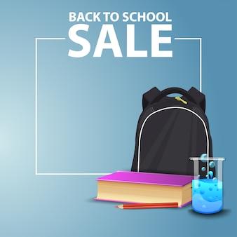 De volta à escola, banner web quadrado para o seu site com mochila escolar