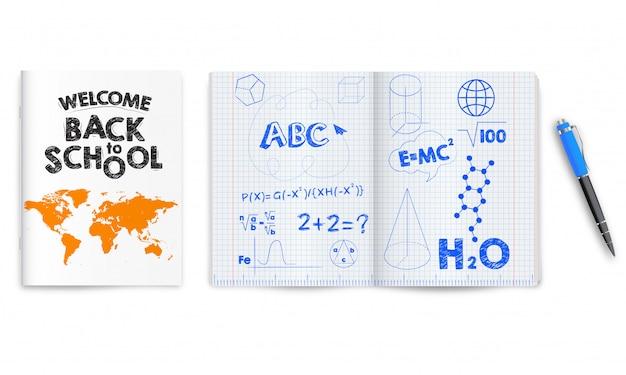 De volta à escola. cadernos escolares abertos e fechados isolados
