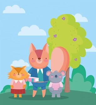 De volta à escola, coala esquilo e raposa alunos ao ar livre