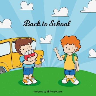 De volta à escola com as crianças desenhadas a mão