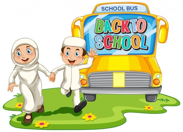 De volta à escola com caráter de estudante muçulmano
