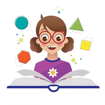 De volta à escola com criança e livro