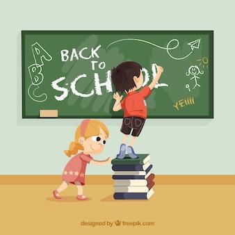 De volta à escola com crianças felizes