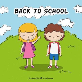 De volta à escola com crianças saudações de fundo