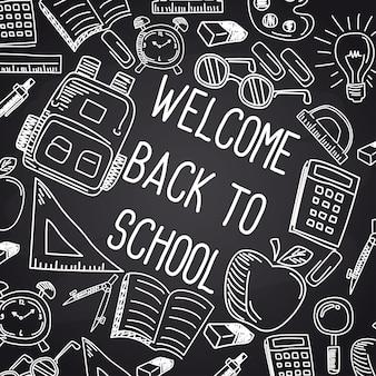 De volta à escola com fonte de giz no quadro-negro