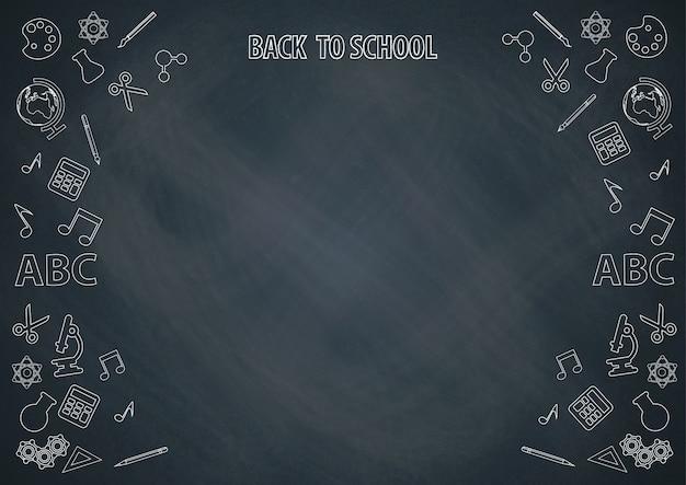 De volta à escola com fundo de quadro de giz e doodle vector