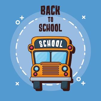 De volta à escola com ícone do ônibus escolar sobre fundo azul