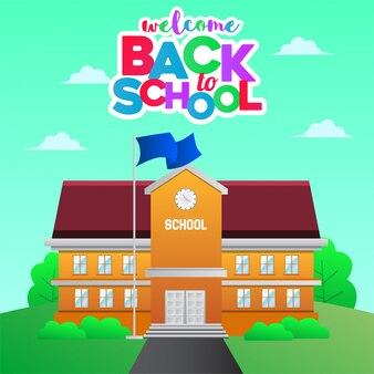 De volta à escola com ilustração da escola