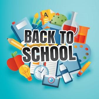 De volta à escola com itens de educação e texto