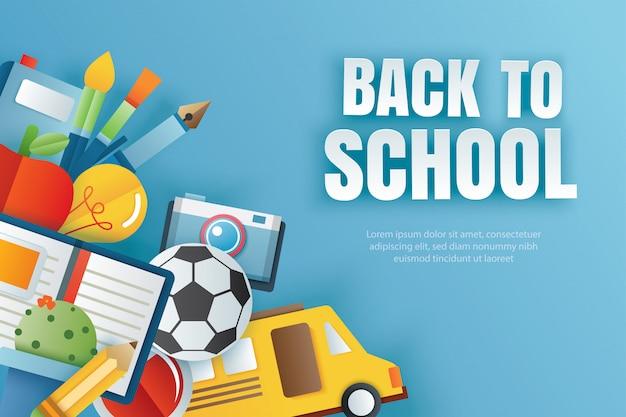 De volta à escola com itens de educação em azul