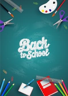 De volta à escola com itens e elementos da escola