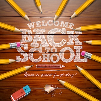 De volta à escola com lápis de grafite e letras de tipografia