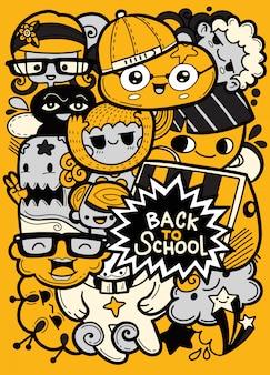 De volta à escola com mascotes de educação engraçada dos desenhos animados