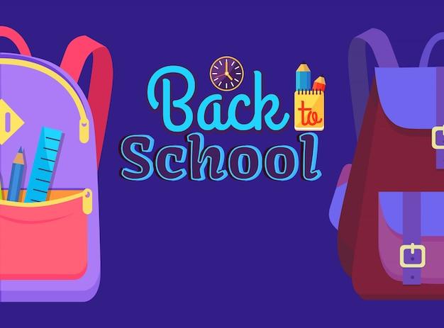 De volta à escola com mochila de aluno