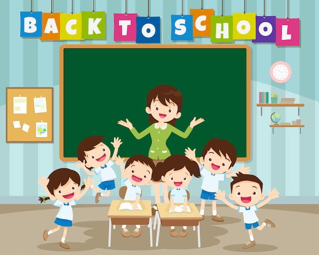 De volta à escola com o aluno da escola primária
