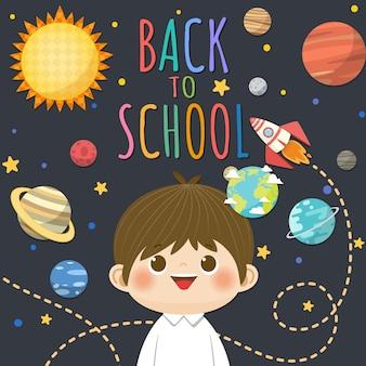De volta à escola com o menino sorridente