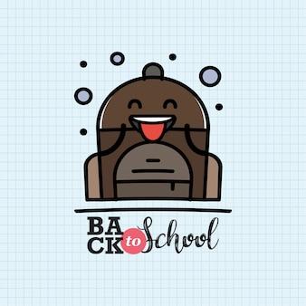 De volta à escola com personagem de mochila