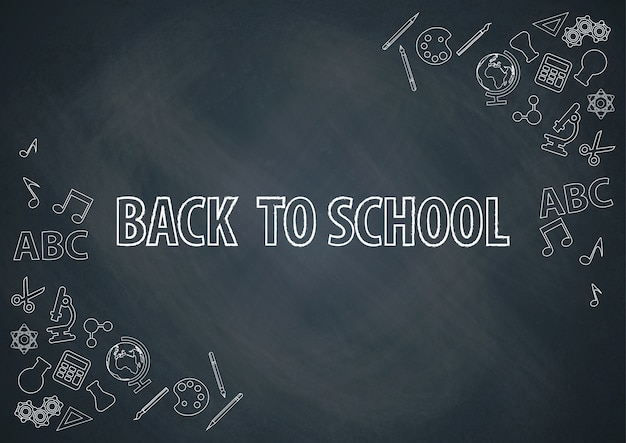 De volta à escola com vetor de fundo de lousa