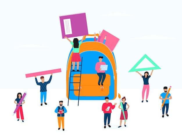 De volta à escola. conceito de educação. as pessoas empacotam uma mochila. a garota está empacotando um livro. um homem trabalha em um laptop. uma mulher alimenta uma régua triangular. os alunos seguram uma caneta, lápis, pincel.