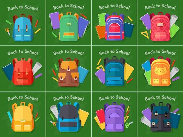 De volta à escola. conjunto de mochilas de diferentes tipos