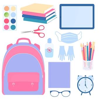 De volta à escola. conjunto de suprimentos de alunos.