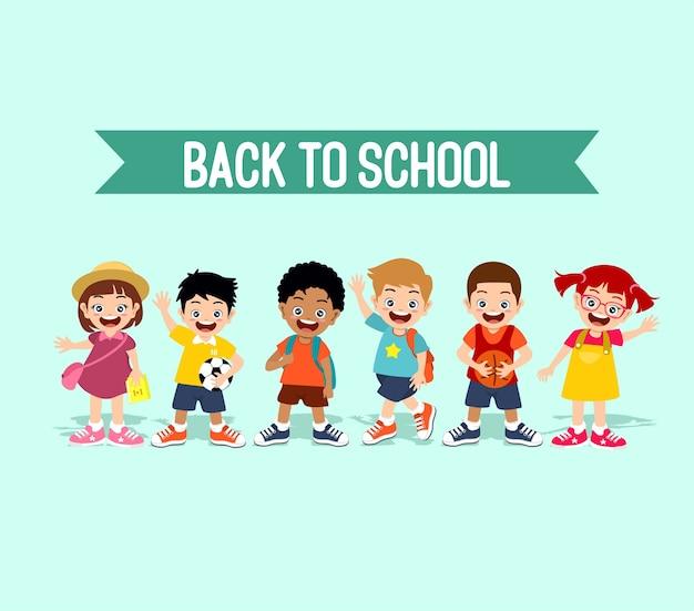 De volta à escola crianças felizes