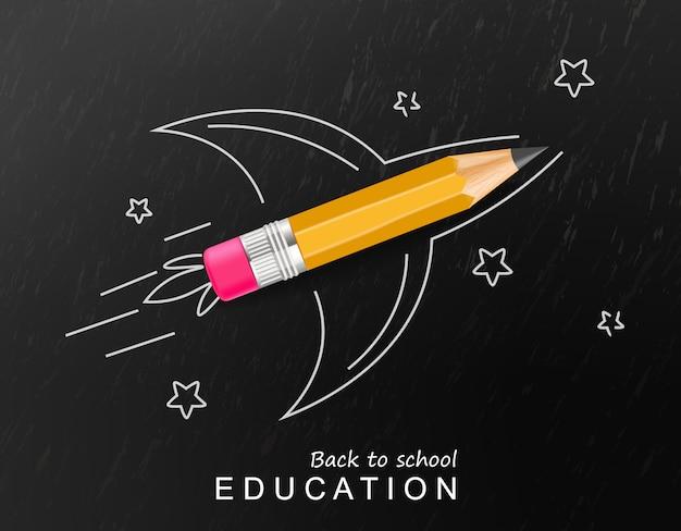 De volta à escola criativa com foguete crayon