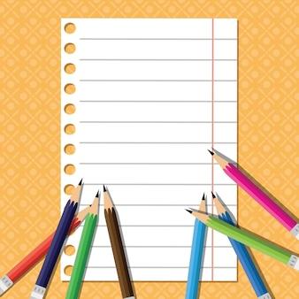 De volta à escola de lápis de cor em papel de linha