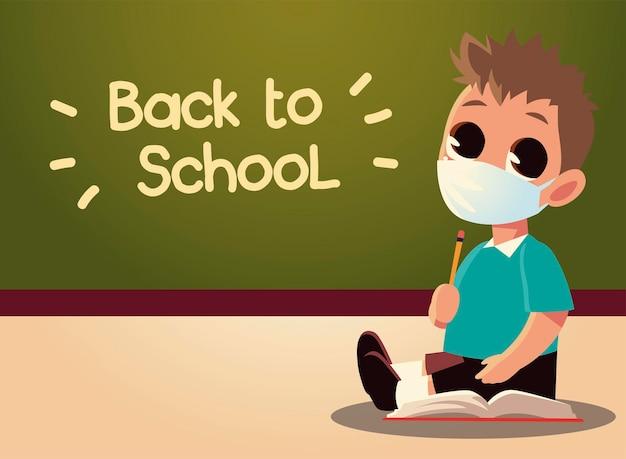 De volta à escola de menino com máscara médica e quadro, distanciamento social e tema de educação