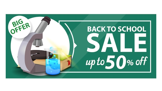 De volta à escola, desconto banner web com microscópio, livros e frasco químico