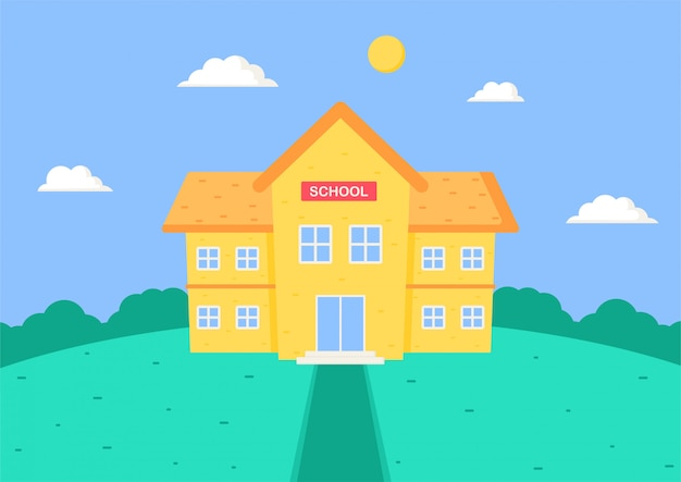 De volta à escola. desenho de prédio da escola.