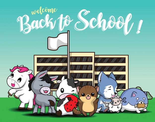 De volta à escola., desenhos animados animais bonitos.