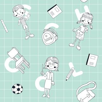 De volta à escola doodle padrão sem emenda