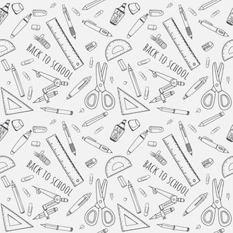 De volta à escola doodles padrão sem emenda