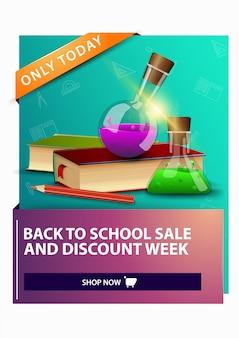 De volta à escola e semana de desconto, desconto banner web vertical