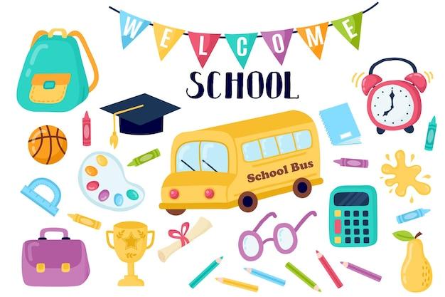 De volta à escola, educação, conjunto desenhado à mão, conjunto de álbum de recortes, adesivo