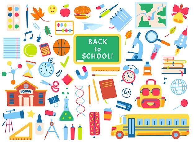 De volta à escola, elementos desenhados à mão suprimentos rabiscos, livros, cadernos, quadro-negro, vetor, conjunto