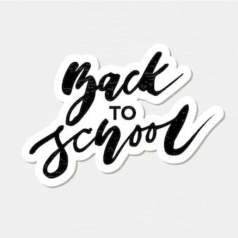 De volta à escola frase vector lettering caligrafia autumn