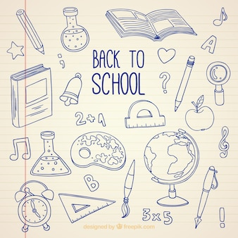 De volta à escola, fundo desenhado à mão