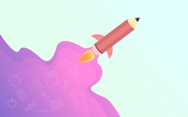De volta à escola, ilustração criativa de foguete de lápis